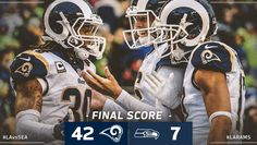 Game #14 2017: Rams crush Seattle, LA Rams-42 vs. Seahawks-7 @ Seattle, Rams record 10-4, 2 game lead (to Seattle) 1st NFC West, now as a WC#3 seed in the NFC (Eagles#1-Vikings#2)...must win Wk-15 Titans (away) to clinch NFC West! (twitter.image) 12.17.17 (Sun)