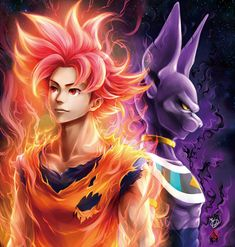 Goku and Beerus by Kanchiyo