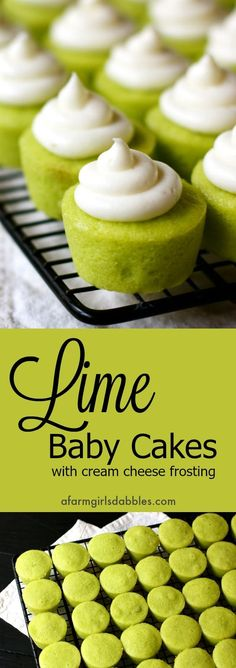 Lime Baby Cakes from afarmgirlsdabbles. - Little flavorful lime cupcakes with swirls of cream cheese frosting Lime Baby Cakes from afarmgirlsdabbles. - Little flavorful lime cupcakes with swirls of cream cheese frosting Mini Desserts, Brownie Desserts, Oreo Dessert, Just Desserts, Colorful Desserts, Appetizer Dessert, Bite Size Desserts, Chocolate Desserts, Healthy Desserts
