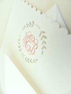 Classic Monogram Scalloped Card in peony - $23.00 - stationary possibility