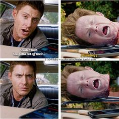 11x04 Baby [gifset] - How to deal with a Nachzehrer; Dean Winchester style. - Supernatural - though, logically, I don't think wipers could move a ~10 lbs head.  still funny
