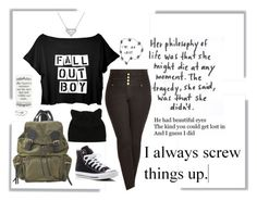"""""""I messed up."""" by little-miss-emo-girl ❤ liked on Polyvore featuring City Chic, Burberry, Converse and falloutboy"""