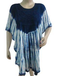 Amazon.com: Blue Tie Dye Poncho Caftan, Hippie Boho Beach Tunic Kaftan Cover Up, Kimono Sleeve Resort Wear: Clothing