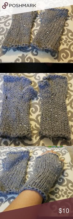 Frenchi Gray Knit Fingerless Gloves w/ Sequins Cute fingerless gloves. Gray, knit, with sequins. Never worn. Frenchi Accessories Gloves & Mittens