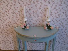 Candlesticks, two, shabby chic accessory, hand finished, twelfth scale dollhouse accessory. $8.50, via Etsy.