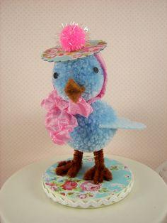 Sweet Little Pom Pom Blue Bird Decoration by SparkleLovesWhimsey, $15.00