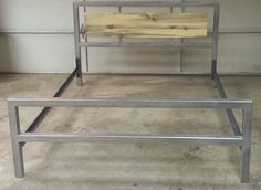 The Salida Bed - Modern Industrial Bed Frame with Beetle Kill Pine Detail - Box Spring Configuration by JevWorks on Etsy https://www.etsy.com/listing/239645652/the-salida-bed-modern-industrial-bed