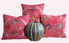 Set of 3 Indian Traditional Handmade Zari Work Cotton Cushion Cover Inch Sofa Cushion Covers, Cushions On Sofa, Throw Pillow Covers, Throw Pillows, Bedroom Colors, Colourful Bedroom, Ethnic Decor, Indian Embroidery, Mirror Work
