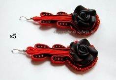 flov design: kolczyki sutasz, earring soutache with rose