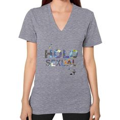 Holosexual V-Neck (on woman) Shirt Tri-Blend Grey Zacaca Shop USA Holosexual V-Neck (on woman) Shirt Holosexual V-Neck (on woman) Shirt, Buy 'Holosexual Shirt' by Zacaca as a T-Shirt, Women's Fitted Scoop T-Shirt, Women's Fitted V-Neck T-Shirt, Women's Relaxed Fit T-Shirt, Graphic T-Shirt, ...Shirts made in USA Find All Over Print, Classic, Fashion, Fitted, Maternity, Organic, and V Neck Tees. American Apparel traditional cut short sleeve…