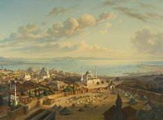 Istanbul From The Fire Tower Of Beyazit, Istanbul, circa Hubert Sattler (German, 1817 - Istanbul, Medieval, History Of Islam, European Paintings, Famous Places, Ottoman Empire, Large Art, Paris Skyline, Photo Art