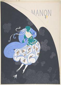 """Costume Design for """"Manon,"""" Chicago Opera Company, 1922 Erté (Romain de Tirtoff) (French (born Russia), St. Petersburg"""