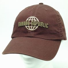 928352393fb Banana Republic Brown Baseball Hat Cap Strapback Raised Lettering Logo  Front has raised embroidery lettering and