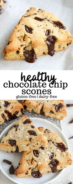 gluten free breakfasts Healthy Chocolate Chip Scones are a low-carb, gluten-free, dairy-free treat made with chocolate chunks. They're perfect for both breakfast and dessert! Cookies Gluten Free, Dairy Free Treats, Gluten Free Baking, Dairy Free Recipes, Gluten Dairy Free, Bread Recipes, Easy Recipes, Healthy Sweets, Healthy Dessert Recipes