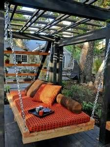 Use canvas covered boxspring under grape arbor