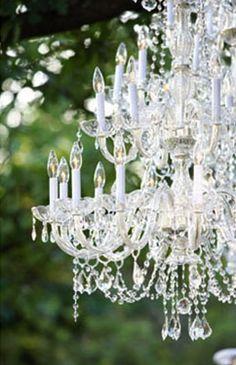 outdoor chandelier party wedding