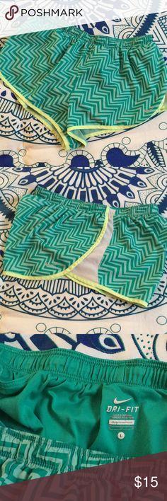 Nike Running Shorts Zig zag running shorts with inner pocket and side mesh panel. Super comfy. Nike Shorts