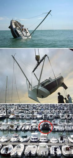 ALH-weird-boats---love-love-ever-sinking-boat-justin-werthier Pontoon Houseboat, Tiny Boat, Cool Boats, Yacht Boat, Sailing Ships, Sailing Yachts, Boat Plans, Boat Building, Water Crafts