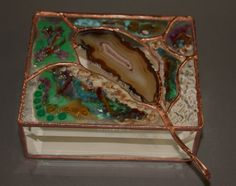 Fused Glass Box with Agate by BoxesByNeal on Etsy