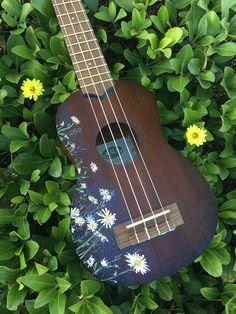Items similar to Custom Ukulele - Daisy Ukulele on Etsy Ukulele Art, Cool Ukulele, Ukulele Songs, Guitar Diy, Music Guitar, Violin, Ukelele Painted, Planeta Venus, Ukulele Design