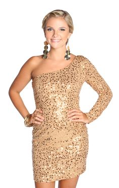 long sleeved one shoulder sequin homecoming dress