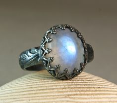 Oxidized Sterling Silver Moonstone Ring, Floral Band, Hand Made Jewelry, Birthstone, custom sized by TazziesCustomJewelry on Etsy https://www.etsy.com/listing/214576849/oxidized-sterling-silver-moonstone-ring