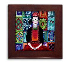 Frida Kahlo Talavera Birds Mexican Folk Art Ceramic Framed Tile by Heather Galler - Ready To Hang Tile Frame Gift