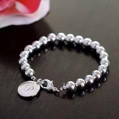 Personalized Silver Bead Bracelet bridesmaid gift $25.95 #wherebridesgo <3 20% off orders of 3 or more with coupon code LOVEBRACELETS