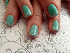 Turquoise mint green nails