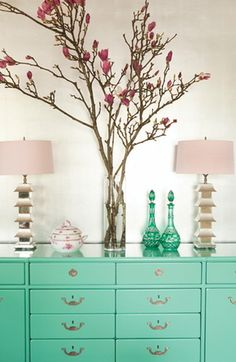 Turquoise dresser. Love the pop of color in furniture.