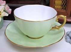 Royal Albert Tea Cup & Saucer c1945 Pale Mint Green Heavy Gold in Pottery & Glass, Pottery & China, China & Dinnerware, Royal Albert | eBay