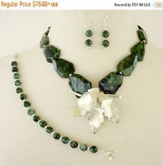 $45   Emerald Green Layered Statement Necklace Set 4 by laiseoriginals