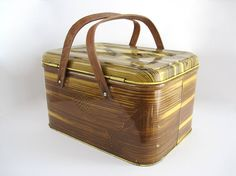 Vintage Metal Picnic Basket Wood Grain Handles Organization Storage Box