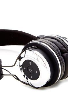 Bluetooth Stereo Metallic Silver Headphones//