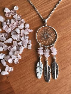 Rose Quartz Dream Catcher Necklace. Check it out in my Etsy shop https://www.etsy.com/ca/listing/527139951/silver-dream-catcher-necklace-with