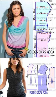 blouse with draped collar 9 best tips for your hair to look stunning and voluminous Veja a publicação completa no site Patterns summer blouses (Sewing and cutting) Dress Sewing Patterns, Blouse Patterns, Clothing Patterns, Bag Patterns, Blouse Designs, Fashion Sewing, Diy Fashion, Fashion Tips, Sewing Hacks
