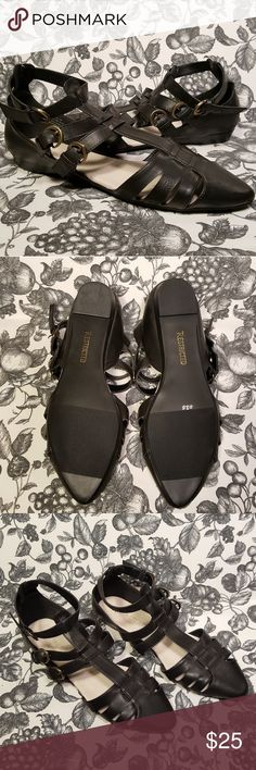 SALE! Restricted Black Strappy Closed Toe Flats Restricted Black Strappy Buckled Closed Toe Flats Like new condition! Size 10 Restricted Shoes
