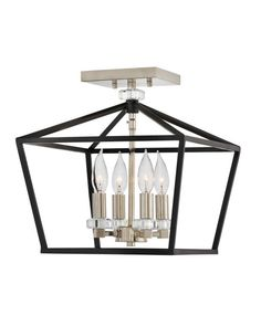 Stinson Semi-Flush Mount Ceiling Light by Hinkley Lighting - Color: Black - Finish: Black with Polished Nickel - Semi Flush Ceiling Lights, Chandelier Ceiling Lights, Flush Mount Ceiling, Ceiling Fixtures, Light Fixtures, Semi Flush Lighting, Chandeliers, Rectangle Chandelier, Hinkley Lighting