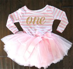 First or Second Birthday Tutu Dress in Long Sleeve for Baby Girl In Pink and White Stripes With Gold, Number One, Number Two