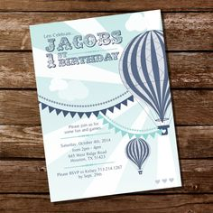 Vintage Hot Air Balloon Boy Birthday Party - Hot Air Balloon Invitation - Instant Download & Editable File - Edit at home with Adobe Reader