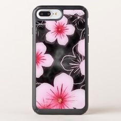 Cute Pastel Pink Hibiscus Floral Pattern On Black Speck iPhone Case - black gifts unique cool diy customize personalize