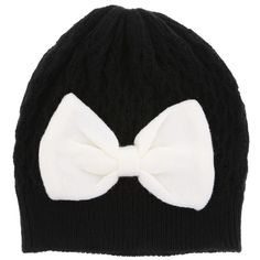 Black and white bow Beenie.