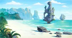 Dinotopia: The Mini Series background color key (Walt Disney, 2002).