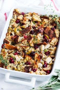Cranberry Apple Sage Stuffing recipe - Moist, flavorful stuffing packed with fresh herbs and artisan sourdough bread. No boxed stuffing here! Fall Recipes, Holiday Recipes, Dinner Recipes, Christmas Recipes, Christmas Menu Ideas, Dinner Ideas, Christmas Side, Holiday Meals, Winter Christmas
