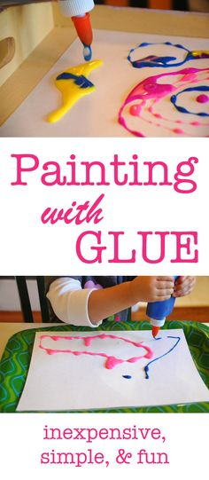 How to make your own colored glue & painting with colored glue for kids Craft Activities For Kids, Preschool Crafts, Toddler Activities, Projects For Kids, Fun Crafts, Crafts For Kids, Arts And Crafts, Toddler Learning, Art Projects