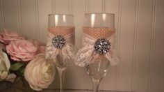 burlap and lace wedding toasting flutes, mr and mrs glasses, bride and groom rustic wedding, vintage lace on Etsy, 230,41kr