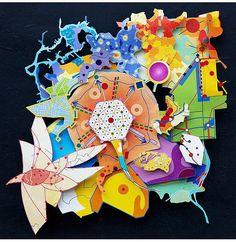 """40°42'51"""" N - 74°00'21"""" O Alt: 4 621 km  - 2014 - paper-art, paper-cut"""