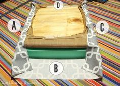 """How to Reupholster a Dining Chair Seat: DIY Tutorial full of tips and tricks. Gotta love this """"no-mess method"""" that eliminates the most grueling steps of any reupholstery project! Keep the original seat intact and simply add a new cushion and fabric atop it! Work with a buddy to ensure your fabric is tightly secured."""