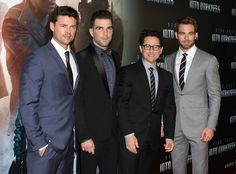 From left to right, Karl Urban, Zachary Quinto, J.J. Abrams and Chris Pine. From left to right, Karl Urban, Zachary Quinto, J.J. Abrams and Chris Pine. Image by Eva Rinaldi (Uploaded by MyCanon)/ CC BY-SA 2.0, via Wikimedia Commons
