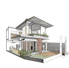 Image 36 of 42 from gallery of The Umbrella / AD+studio. Architecture Concept Drawings, Minimal Architecture, Architecture Sketchbook, Architecture Visualization, Modern Architecture House, Facade Architecture, Architecture Portfolio, Modern Tropical House, Facade House